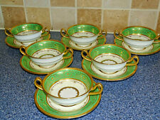 MINTONS SOUP BOWLS AND SAUCERS HEAVY GOLD GREEN H3998 X6 TEA SET DINNER SERVICE