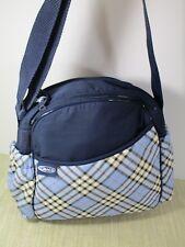 GRACO Diaper Bag cross-body strap Medium Navy Blue Plaid plastic interior New
