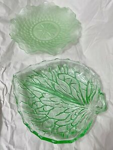 Green depression glass divided leaf shaped serving dish plus round scallops dish