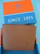 NEW Original Penguin by Munsingwear Wallet Men's ID $40 RV Brown Tan Leather