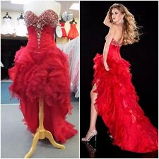 14416 PANOPLY RED SEXY HI-LOW GOWN FORMAL PROM PAGEANT DRESS Sz 0 $550 NWT
