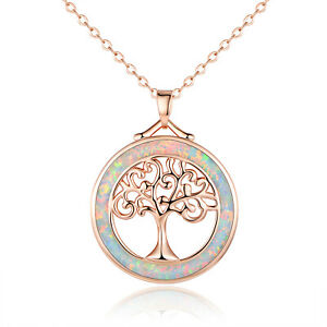 Sevil 18K Rose Gold Plated Created Opal Tree of Life Pendant Necklace