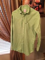 BROOKS BROTHERS 346 Small Mens L/S Button Down Shirt Green White Striped Cotton