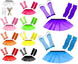 Child Tutu Skirt Kids Party Costume Fancy Dress Set Neon UV Gloves Leg Warmers
