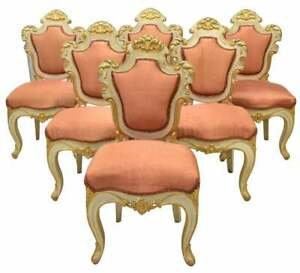Chairs, Baroque Style Set of Six Uholstered Parcel Gilt, Vintage / Antique, Pink