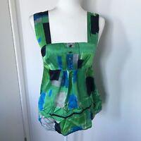 BEBE Sz 8 Green/Blue 100% Silk Tank Top Blouse Imperial Waist Geometric GUC