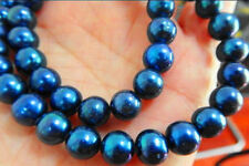 """10-11 mm round natural south sea blue pearl necklace 18 """""""