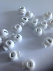 White Golfball Round Cordlock Toggles fits 4mm to 5mm