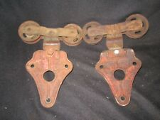 2 VINTAGE ANTIQUE ALLITH PROUTY BARN SHED DOOR HANGING TRACK ROLLERS