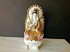 "China Dehua Wucai Hand painted Porcelain lotus Kwan-yin 12""Tall Sculpture statue"
