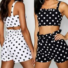 Polka Dot Print Crop Top and Short Co-ord Sexy Outfit Two Piece Set
