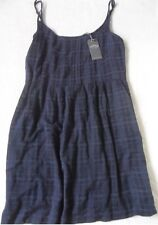 FAT FACE SALLY NAVY CHECK PRINT COTTON BLEND MID LENGTH STRAPPY SUN DRESS  6  14