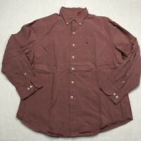 IZOD Button Up Shirt Adult Extra Large Red Long Sleeve Cotton Casual Men's
