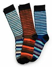 Hanes Men's Random Stripe Crew Socks 3-Pack 10-13 Blues Orange White Multi