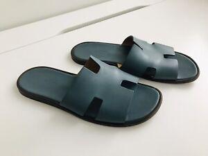 Hermes Petrole Blue Izmir Sandals Sz 42 (US 9) w/Dust Bags