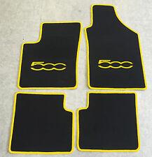 Autoteppich Fußmatten für Fiat 500 u. Cabrio ab 2007' schwarz gelb 4tlg Neu