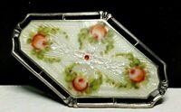 Vintage Rose Flower Floral Guilloche Enamel Sterling Silver 925 Pin Brooch