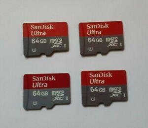 4x SanDisk 64GB Ultra Plus Micro SDXC UHS-1 SD Cards 80MB/s = 256GB