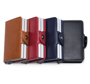 FOROCH 14 Credit Card Holder Men and Women PU Leather Double Case Business RFID