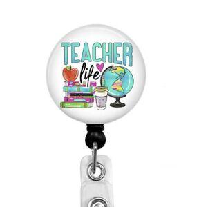 Teacher Life Retractable Badge Reel Holder, Gift for Teacher, T31