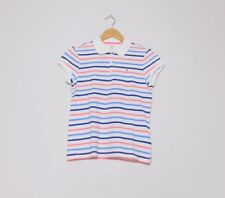 Tommy Hilfiger Girls White Pink Blue Striped Polo Shirt Size XL Age 16