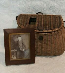 ANTIQUE VICTORIAN FISHING CREEL LEATHER STRAP with FIsherman Photograph