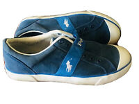 Polo Ralph Lauren Mens Sneakers Blue & White Vintage Style Slip On Shoes 10.5