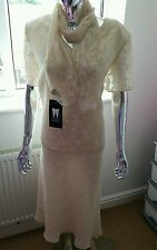 New Ladies Occasions Suit & Scarf By Whimsy In Peach & Cream Size 20