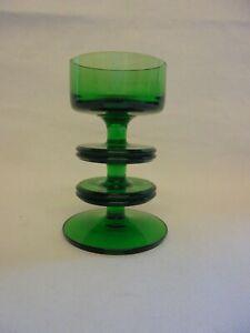 WEDGWOOD GREEN GLASS TWO DISK SHERINGHAM CANDLESTICK RONALD STENNETT WILSON