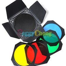 Universal photo Studio Flash Barn Door with Honeycomb Grid + 4 Color Gels kit