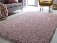 VELOCE SPARKLE BLUSH PINK SOFT THICK DENSE PILE SHAGGY RUG in various sizes