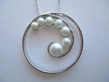 """30mm Round Sterling Pendant w/Spiral Freshwater Pearls & 18"""" Sterling Box Chain"""