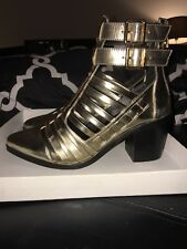 Urban Outfitters Savage Heel Caged Ankle Boots by Soles Sz 36 Leather Gold $160