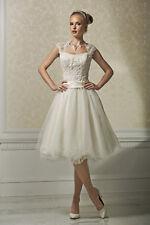 50er Vintage Kurz Spitze Brautkleid Standesamtkleid A-Linie Gürtel Bolero IVORY