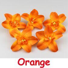 "50X Orange Artificial Silk Orchid Flower Heads Bulk 3""Fake Floral Wedding Decor"