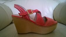 MARKS & SPENCER Autograph Salmon Suede Sandals/Shoes - UK Size 4 - HARDLY WORN