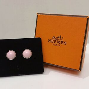RARE Hermes Eclipse Round Pink Enamel Stud Earrings New In Box $400