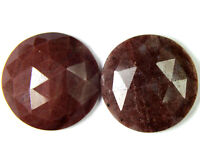 C-0205 Natural Jasper Gemstone Round Faceted Slice Pair Cabochon 18mm 21Cts Cab
