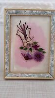 """Hand Painted Glass Floral Art  Wooden Frame Purple Flowers Signed 8""""x6"""" EUC"""