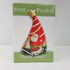 Fitz and Floyd Merry Jingle 2005 Christmas Tree Santa Lidded Box Glass Ceramic