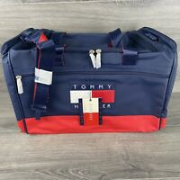 TOMMY HILFIGER SPELL OUT RED,WHITE,BLUE DUFFEL LARGE TOTE