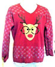 Ugly Christmas Sweater Derek Heart Nerdy Rudolf Reindeer Sequin Glasses EUC 1X