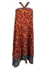 GYPSY HIPPY BOHO WOMEN MAGIC WRAP SKIRT REVERSIBLE 2 LAYER EVENING HALTER DRESS