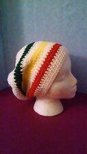 Handmade crochet beanie hat White with Yellow Green Red Acrylic yarn