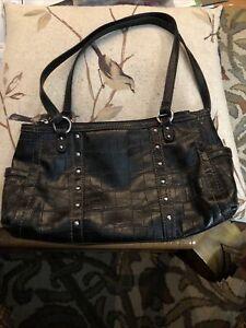 Women's RELIC Faux Black Alligator Skin Shoulder Bag Designer Purse Handbag Q324