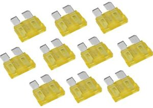 Pack of 10 Auto car Electrical Blade Fuses, 20 Amp, Quick blow STANDARD Yellow