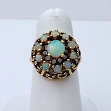 Vintage 10k Gold 1.5ctw Fiery Opal Halo Cocktail Ring October Birthstone Sz 6.5
