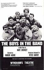 "Mart Crowley ""BOYS IN THE BAND"" Kenneth Nelson / Leonard Frey 1969 London Flyer"
