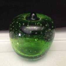 Art Glass Green Apple Controlled Bubbles Paperweight Vintage