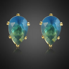 Fashion Jewelry Lady Blue Sapphire Earrings Yellow Gold Plated Stud Ring Earings
